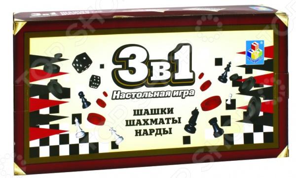 Игра настольная 3 в 1: шашки, шахматы, нарды 1 Toy на магните Т12058