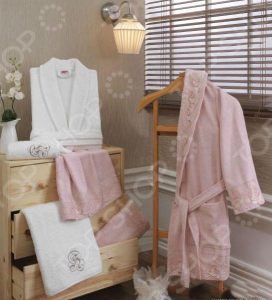 Халат махровый Hobby Home Collection Nelly. Цвет: светло-розовый