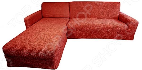Zakazat.ru: Натяжной чехол на угловой диван с выступом слева Еврочехол «Микрофибра. Терракотовый»