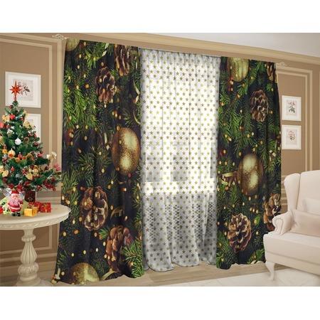 Купить Комплект: шторы и тюль ТамиТекс «Новогодняя ночь чудес»