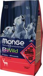 Корм сухой для щенков всех пород Monge Natural Superpremium Bwild Puppy Deer