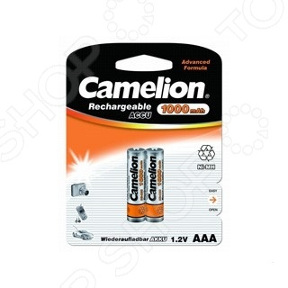 Набор батареек аккумуляторных Camelion AAA-1000mAh Ni-Mh BL-2 camelion aaa 1000mah ni mh bl 2 nh aaa1000bp2 аккумулятор 1 2в 2 шт