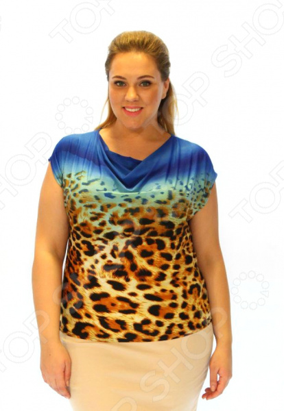 Блуза Элеганс «Теплый закат». Цвет: синий
