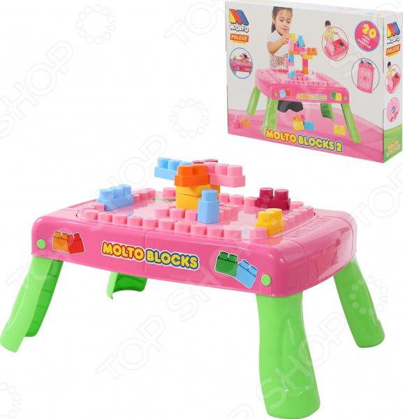 Столик с конструктором POLESIE Molto Blocks с элементами вращения Столик с конструктором POLESIE Molto Blocks с элементами вращения /Розовый