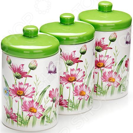 набор банок для сыпучих продуктов loraine красный узор 400 мл 3 шт 25862 Набор банок для сыпучих продуктов Loraine LR-26252 «Цветы»