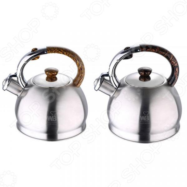 Чайник со свистком Wellberg 6346 WB. В ассортименте чайник wellberg wb 3431 f