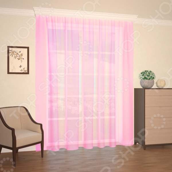 Штора легкая Синель «Мелодия». Цвет: розовый штора легкая правосторонняя синель акцент 122