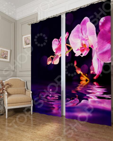 Фотошторы блэкаут Сирень «Орхидея над водой»