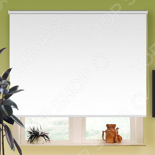 Рулонная штора блэкаут Эскар отражающая. Цвет: белый
