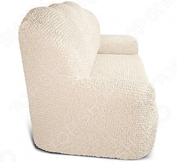 Натяжной чехол на трехместный диван Еврочехол «Микрофибра. Ваниль» 2
