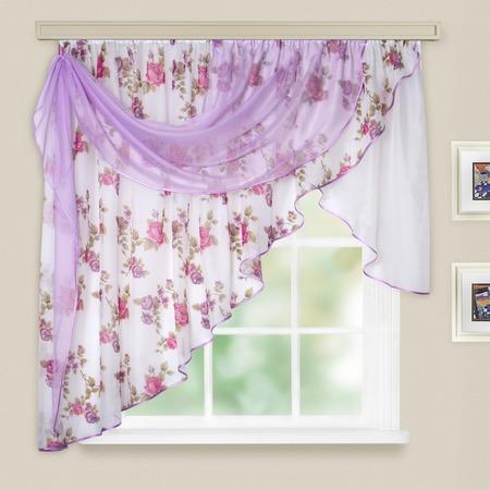 Купить Комплект легких штор левосторонний WITERRA «Мелодия». Цвет: темно-розовый. В ассортименте