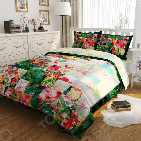 Комплект постельного белья Сирень «Цветочная фантазия». Евро