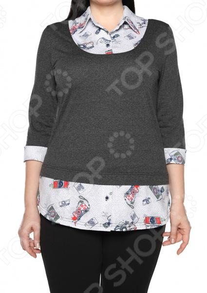 Блуза El Fa Mei «Интересное сочетание». Цвет: серо-белый el fa mei боди слипы