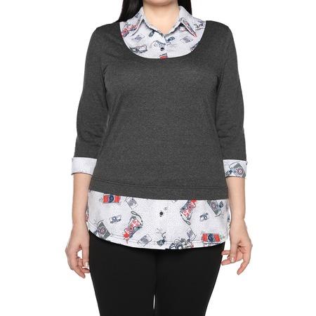 Купить Блуза El Fa Mei «Интересное сочетание». Цвет: серо-белый