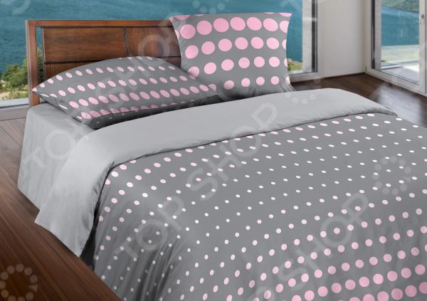 Комплект постельного белья Wenge Dot. 1,5-спальный. Цвет: серый, розовый