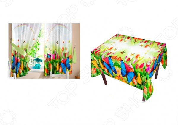 Фотокомплект: шторы, тюль и скатерть ТамиТекс «Бабочки»