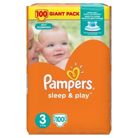Купить Подгузники Pampers Sleep & Play 5-9 кг, размер 3, 100 шт.