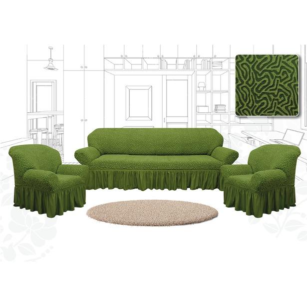 фото Натяжной чехол на трехместный диван и чехлы на 2 кресла Karbeltex «Престиж. Зигзаг». Цвет: зеленый