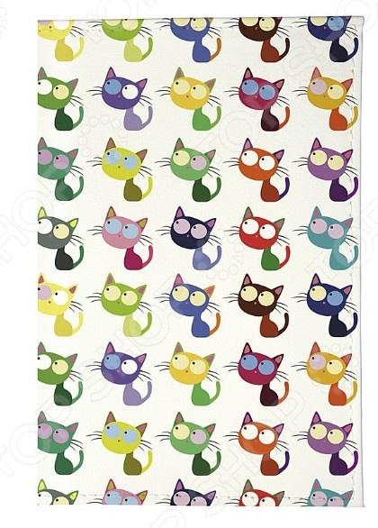 Обложка для паспорта кожаная Mitya Veselkov «Цветные кошки в ряд» обложки mitya veselkov обложка для паспорта рыжие кошки