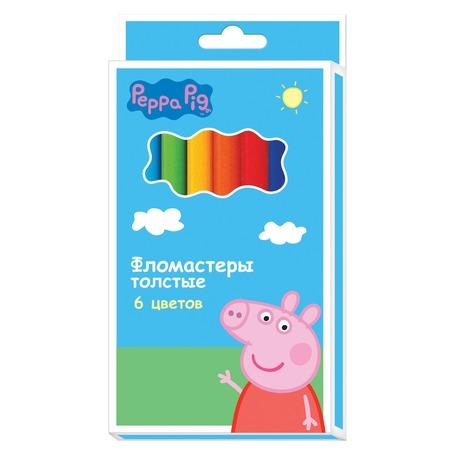 Набор толстых фломастеров Peppa Pig «Свинка Пеппа»: 6 цветов