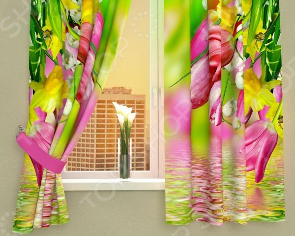 Фотошторы Сирень «Тюльпаны в отражении»