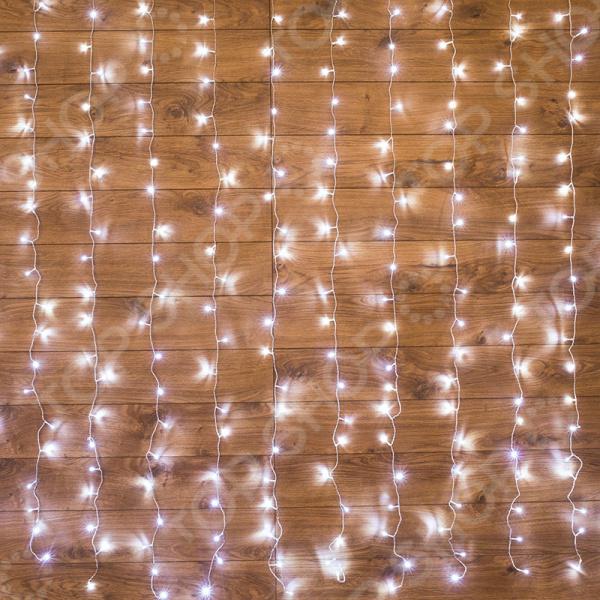 Гирлянда светодиодная управляемая Neon-Night прозрачная «Светодиодный дождь. Занавес» свечение с динамикой. Размер: 2х3 м. Цвет свечения: белый. Уцененный товар Гирлянда светодиодная управляемая Neon-Night 235-065 /