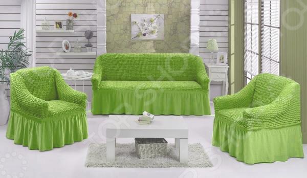 Натяжной чехол на трехместный диван и чехлы на два кресла Karbeltex 1731170