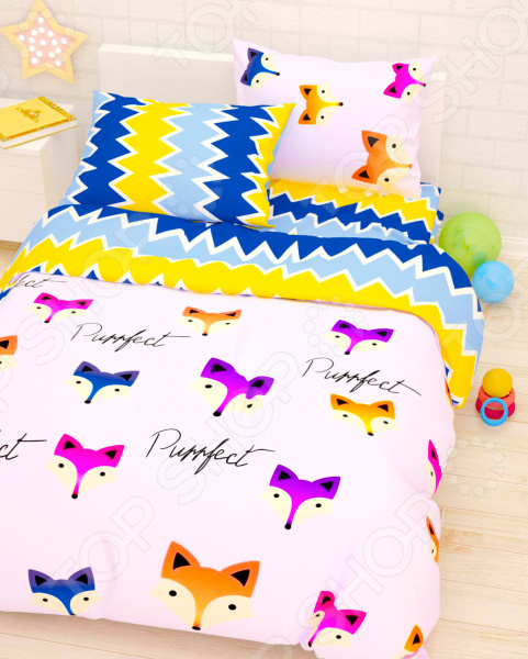 Детский комплект постельного белья Сирень «Лисы» детский комплект постельного белья непоседа урок