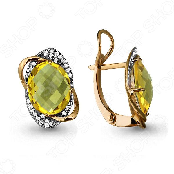 Серьги «Сияние золота» 4459011А
