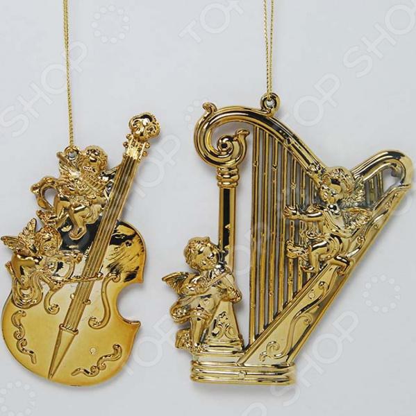Новогоднее украшение Crystal Deco «Музыкальный инструмент с ангелом». В ассортименте