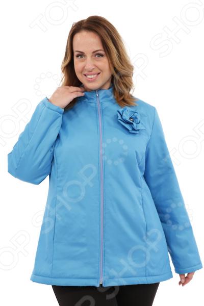 Куртка СВМ-ПРИНТ «Тонкий вкус с воротником». Цвет: голубой свм принт марьяна цвет оливковый