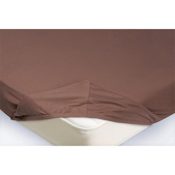 фото Простыня на резинке Ecotex трикотажная. Цвет: светло-коричневый. Размер простыни: 160х200+20 см