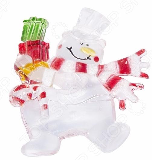 Фигура светодиодная на присоске Neon-Night «Снеговик с подарком» фигура акриловая светодиодная neon night мухомор 120 led с понижающим трансформатором 35 х 35 см