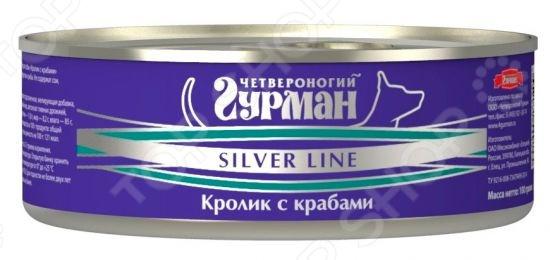 Корм консервированный для собак Четвероногий Гурман Silver «Кролик с крабами в желе»