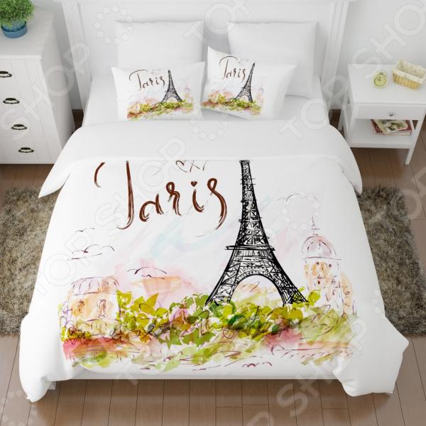 цена Комплект постельного белья Сирень «Открытка из Парижа» онлайн в 2017 году
