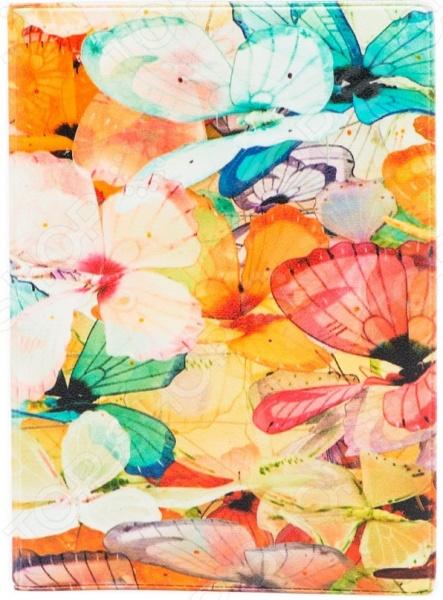 Обложка для паспорта кожаная Mitya Veselkov «Цветные бабочки» цена и фото