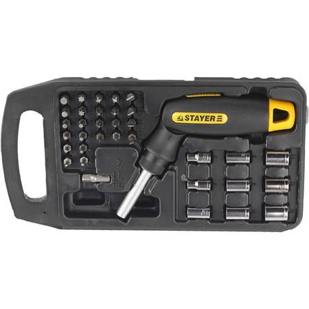Купить Отвертка реверсивная с битами и торцевыми головками Stayer Profi 25564-H34