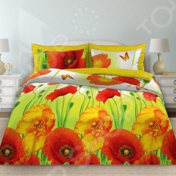 Комплект постельного белья Любимый дом «Маки» комплект постельного белья любимый дом комплект постельного белья лебеди любимый дом 1 5 спальный 2 наволочки 70х70 см хлопок