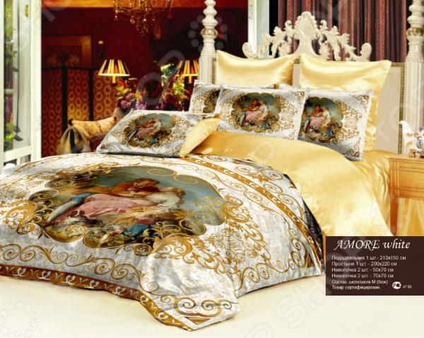 Комплект постельного белья Аморе выполненный в стилистике рококо, комплект постельного белья поражает сочностью, богатством и разнообразием цветовой палитры, утонченной декоративностью и аристократизмом. Шелк комплекта постельного белья потрясающе тонко и точно передает все нюансы изображения каждый мазок мастера оживает, перенесенный с холста и фресок на дышащую страстью поверхность шелка. Комплект постельного белья выполнен из великолепного искусственного шелка нового поколения, он имеет эффектный атласный вид и необычайно мягок и гладок на ощупь. Искусственный шёлк более гладкий на ощупь, можно даже сказать скользящий. Искусственный шёлк обладает высокой воздухопроницаемостью и гигроскопичностью. Но такая ткань, в отличие от натурального шёлка, обладает только охлаждающим эффектом это идеальный вариант для летнего периода времени. Преимущество искусственного шёлка в том, что он практически не сминается. Комплект постельного белья прекрасно вписывается в интерьеры современных просторных апартаментов и небольших помещений, создавая атмосферу дворцовой роскоши и власти, покоя и упорядоченности, благосостояния и успеха. 2 наволочки 70 70 без рисунка 2 шт., 2 наволочки 50 70 см с рисунком с одной стороны. Допустимые технологические отклонения по размерам - 5 см.