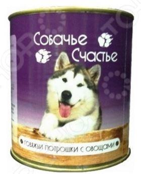 Корм консервированный для собак Собачье Счастье «Говяжьи потрошки с овощами»