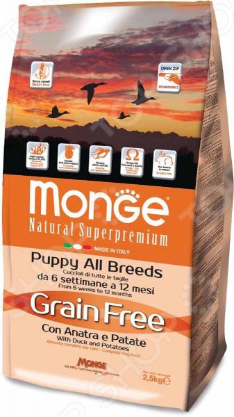 Корм сухой для щенков беззерновой Monge Natural Superpremium Puppy All Breeds Grain Free With Duck and Potatoes