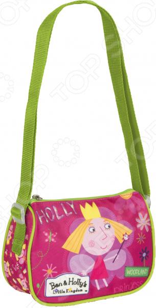 Сумка детская Ben Holly 39;s 31795 миниатюрная сумочка с очаровательным рисунком, станет излюбленным аксессуаром вашего ребенка. В ней можно хранить личные вещи, тетради, книжки и прочие мелочи. Прекрасно держит форму, поэтому чтобы ребенок в ней не хранил, оно не помнется и не сломается.  Сумочка имеет одно отделение на молнии, в которое можно положить любимые игрушки или необходимые на прогулке вещи.  Длину регулируемой лямки можно установить от 28 до 48 см, поэтому аксессуар подходит девочкам разного роста.  Декорирована объемной блестящей аппликацией PVC и ярким принтом, устойчивым к истиранию и выгоранию на солнце. Яркая сумочка создана специально для вашей юной принцессы.