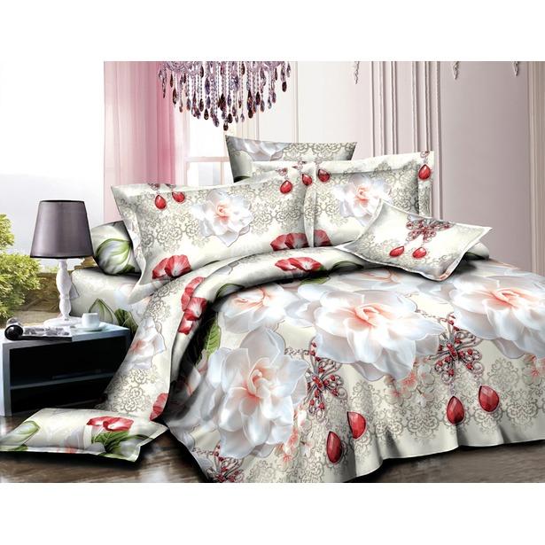 фото Комплект постельного белья «Розарий». 1,5-спальный. Рисунок: розы в рубинах