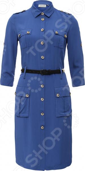 Платье Finn Flare S16-11043. Цвет: синий