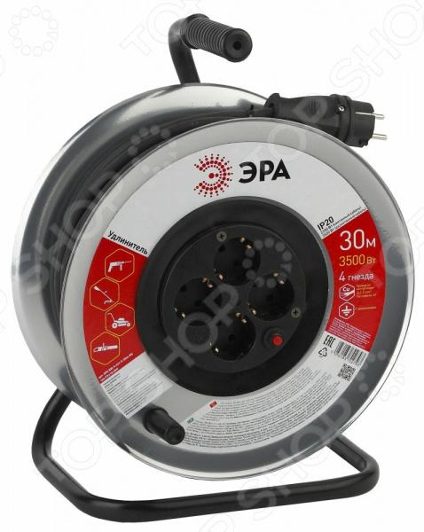 Удлинитель силовой на катушке с заземлением Эра RM-4 IP20 удлинитель эра силовой с заземлением 4 розетки rm 4 3x1 40m 40 м