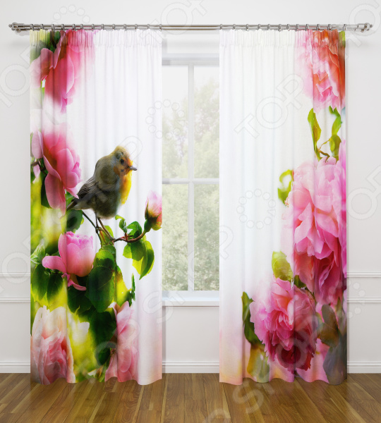 Фотошторы Стильный дом «Птичка в цветах» шторы стильный дом фотошторы альстромерия