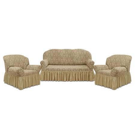 Купить Натяжной чехол на трехместный диван и чехлы на два кресла Karbeltex «Престиж» 10027 с оборкой