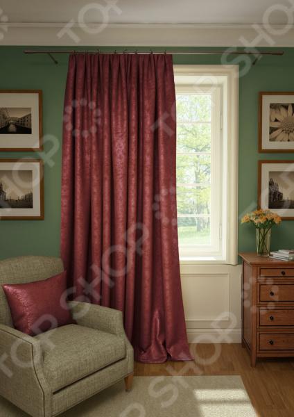 Штора Kauffort Plain Lux. Цвет: бордовый шторы интерьерные kauffort штора provence k на тесьме 136х175