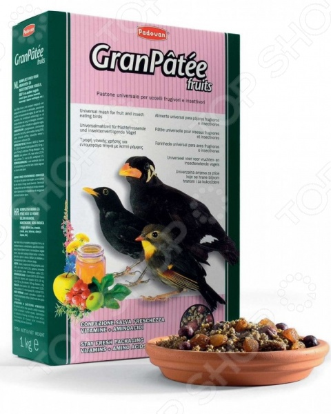 Корм для насекомоядных птиц Padovan GranPatee fruits с фруктами корм для тропических птиц padovan wellness mix полнорационный 1кг