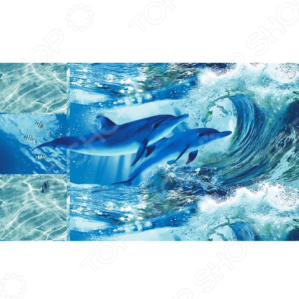 Полотенце банное вафельное ТексДизайн «Дельфинарий» кислотные красители в алматы